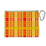 Check Pattern Canvas Cosmetic Bag (XL) Back