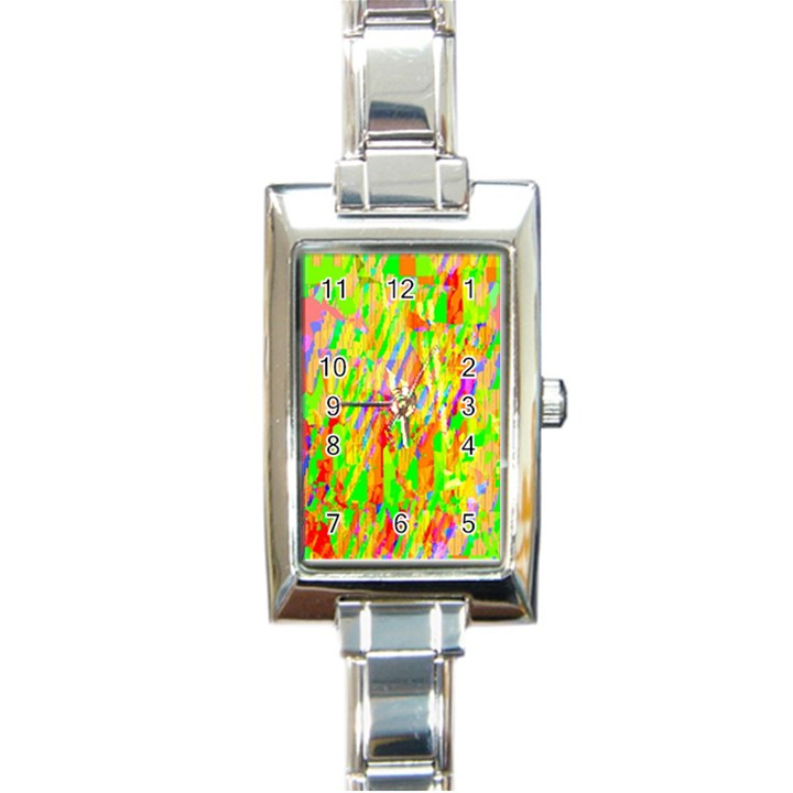 Cheerful Phantasmagoric Pattern Rectangle Italian Charm Watch