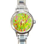 Cheerful Phantasmagoric Pattern Round Italian Charm Watch Front