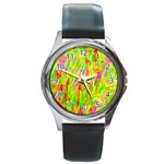 Cheerful Phantasmagoric Pattern Round Metal Watch Front