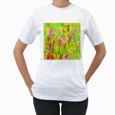 Cheerful Phantasmagoric Pattern Women s T-Shirt (White) (Two Sided)
