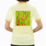 Cheerful Phantasmagoric Pattern Women s Fitted Ringer T-Shirts Back