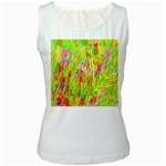 Cheerful Phantasmagoric Pattern Women s White Tank Top Front