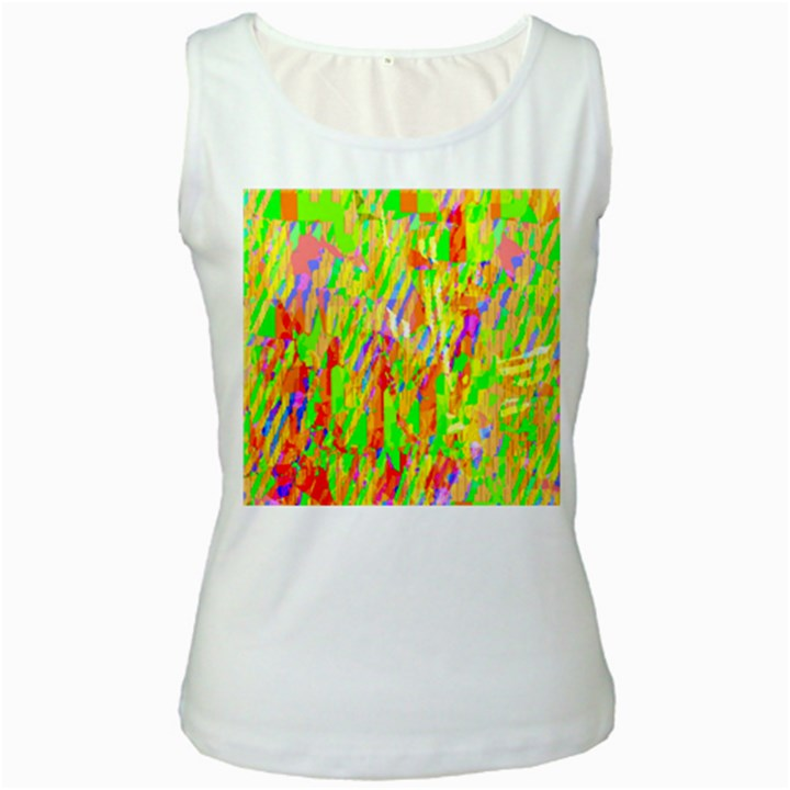 Cheerful Phantasmagoric Pattern Women s White Tank Top