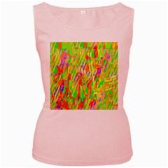 Cheerful Phantasmagoric Pattern Women s Pink Tank Top