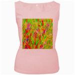 Cheerful Phantasmagoric Pattern Women s Pink Tank Top Front