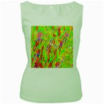 Cheerful Phantasmagoric Pattern Women s Green Tank Top Front