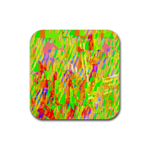 Cheerful Phantasmagoric Pattern Rubber Square Coaster (4 pack)