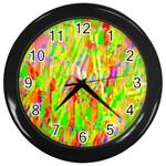 Cheerful Phantasmagoric Pattern Wall Clocks (Black) Front