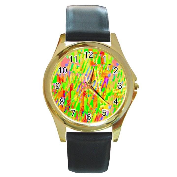 Cheerful Phantasmagoric Pattern Round Gold Metal Watch