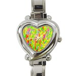 Cheerful Phantasmagoric Pattern Heart Italian Charm Watch Front