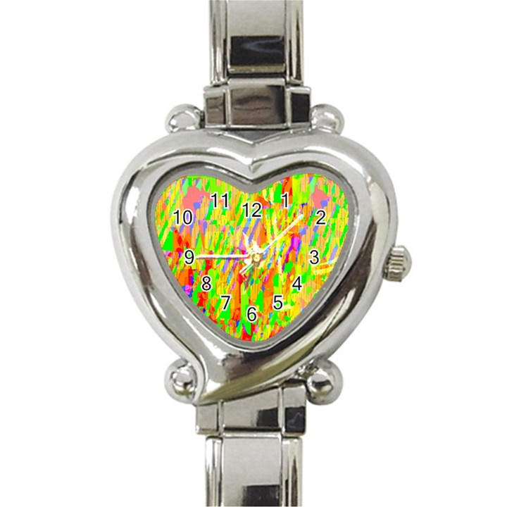 Cheerful Phantasmagoric Pattern Heart Italian Charm Watch