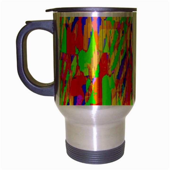 Cheerful Phantasmagoric Pattern Travel Mug (Silver Gray)