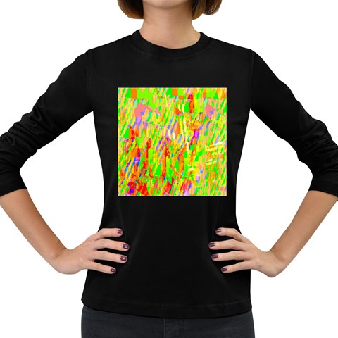 Cheerful Phantasmagoric Pattern Women s Long Sleeve Dark T-Shirts