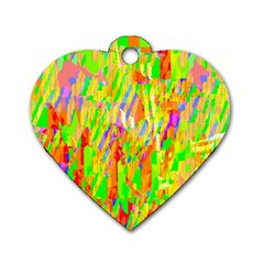 Cheerful Phantasmagoric Pattern Dog Tag Heart (One Side)