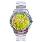 Cheerful Phantasmagoric Pattern Stainless Steel Analogue Watch Front