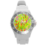 Cheerful Phantasmagoric Pattern Round Plastic Sport Watch (L) Front