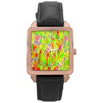Cheerful Phantasmagoric Pattern Rose Gold Leather Watch  Front