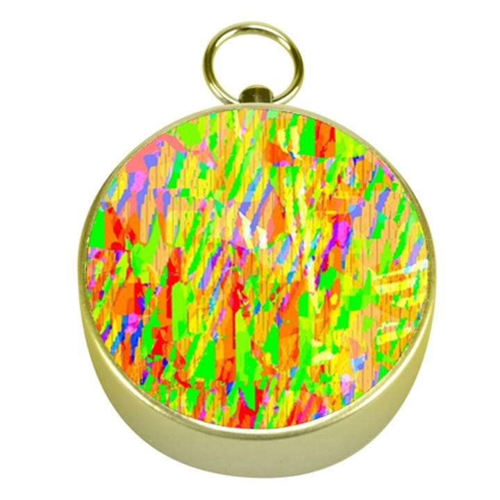 Cheerful Phantasmagoric Pattern Gold Compasses