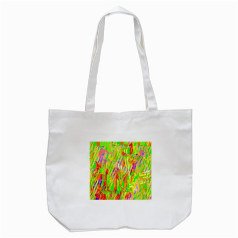 Cheerful Phantasmagoric Pattern Tote Bag (White)