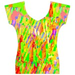 Cheerful Phantasmagoric Pattern Women s V-Neck Cap Sleeve Top Front