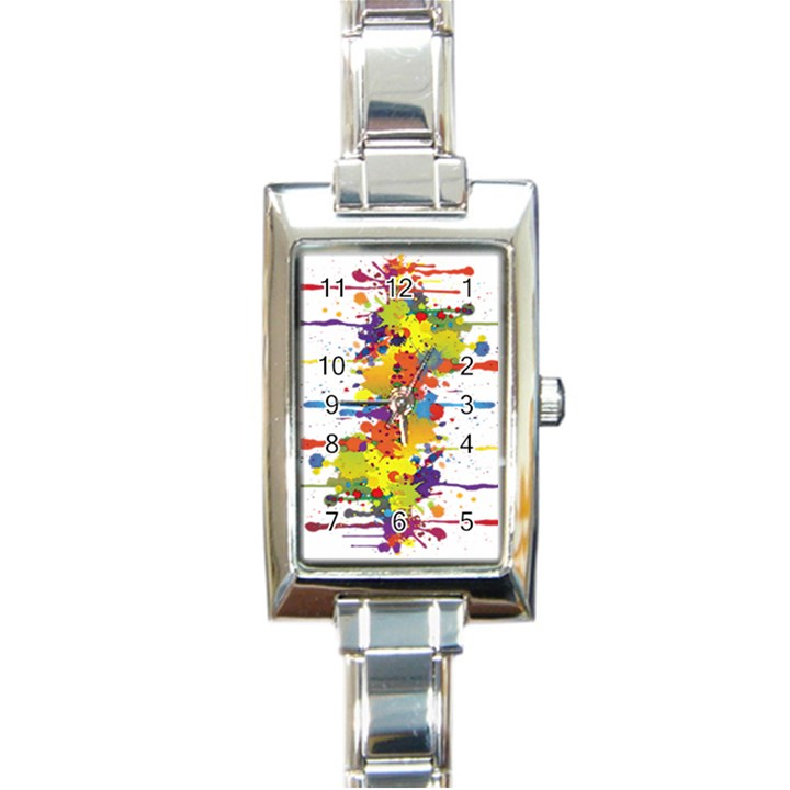 Crazy Multicolored Double Running Splashes Rectangle Italian Charm Watch