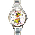 Crazy Multicolored Double Running Splashes Round Italian Charm Watch Front