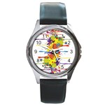 Crazy Multicolored Double Running Splashes Round Metal Watch Front