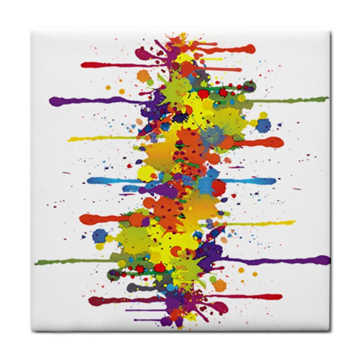 Crazy Multicolored Double Running Splashes Tile Coasters
