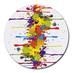 Crazy Multicolored Double Running Splashes Round Mousepads Front