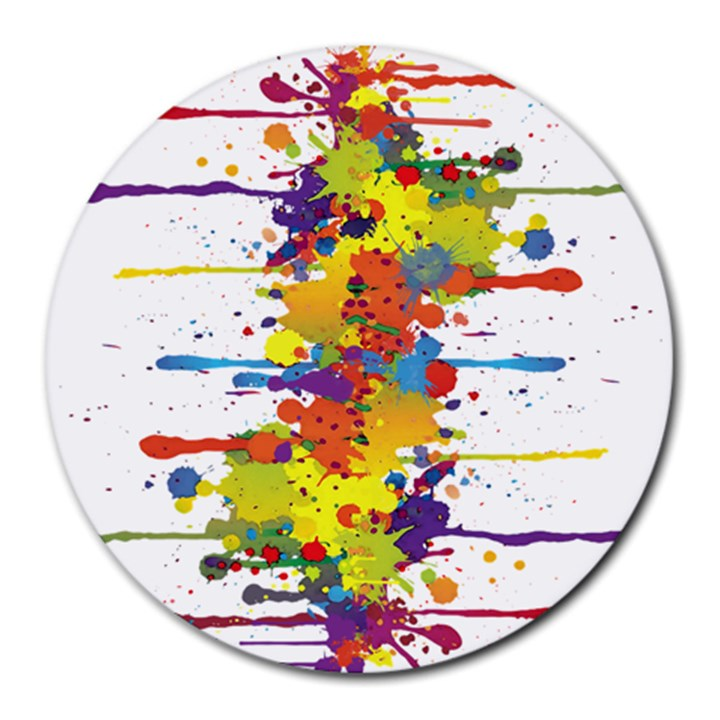 Crazy Multicolored Double Running Splashes Round Mousepads