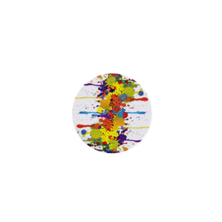 Crazy Multicolored Double Running Splashes 1  Mini Buttons