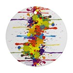 Crazy Multicolored Double Running Splashes Ornament (Round)  Front