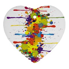 Crazy Multicolored Double Running Splashes Ornament (Heart)