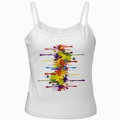 Crazy Multicolored Double Running Splashes White Spaghetti Tank