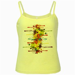 Crazy Multicolored Double Running Splashes Yellow Spaghetti Tank