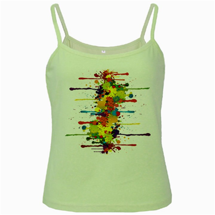 Crazy Multicolored Double Running Splashes Green Spaghetti Tank