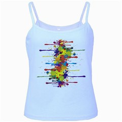Crazy Multicolored Double Running Splashes Baby Blue Spaghetti Tank
