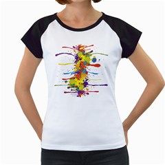 Crazy Multicolored Double Running Splashes Women s Cap Sleeve T