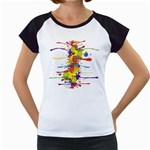 Crazy Multicolored Double Running Splashes Women s Cap Sleeve T Front