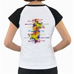 Crazy Multicolored Double Running Splashes Women s Cap Sleeve T Back