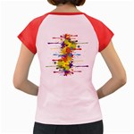Crazy Multicolored Double Running Splashes Women s Cap Sleeve T-Shirt Back