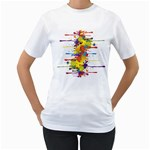 Crazy Multicolored Double Running Splashes Women s T-Shirt (White) (Two Sided) Front