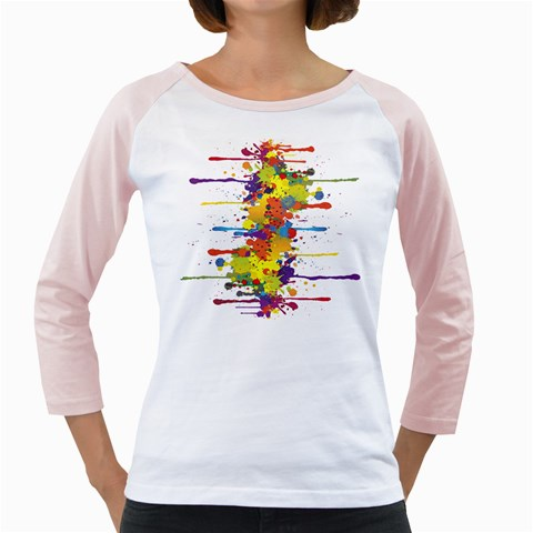 Crazy Multicolored Double Running Splashes Girly Raglans