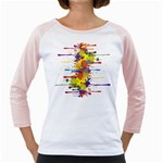 Crazy Multicolored Double Running Splashes Girly Raglans Front