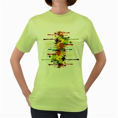 Crazy Multicolored Double Running Splashes Women s Green T Shirt