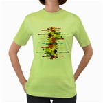 Crazy Multicolored Double Running Splashes Women s Green T-Shirt Front