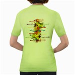 Crazy Multicolored Double Running Splashes Women s Green T-Shirt Back