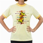 Crazy Multicolored Double Running Splashes Women s Fitted Ringer T-Shirts Front