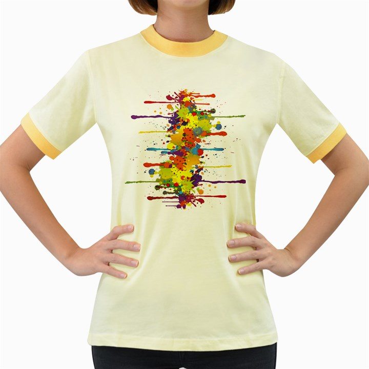 Crazy Multicolored Double Running Splashes Women s Fitted Ringer T-Shirts